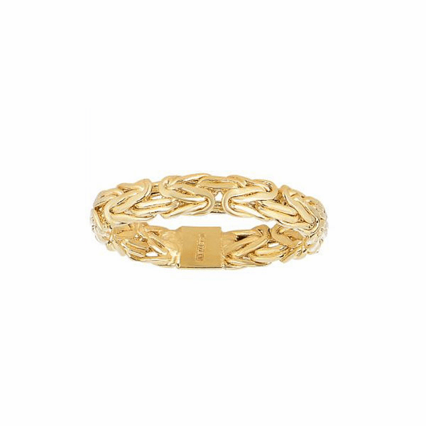 14kt Yellow Gold 4.1mm Shiny Byzantine Band Type Size 07 Ring