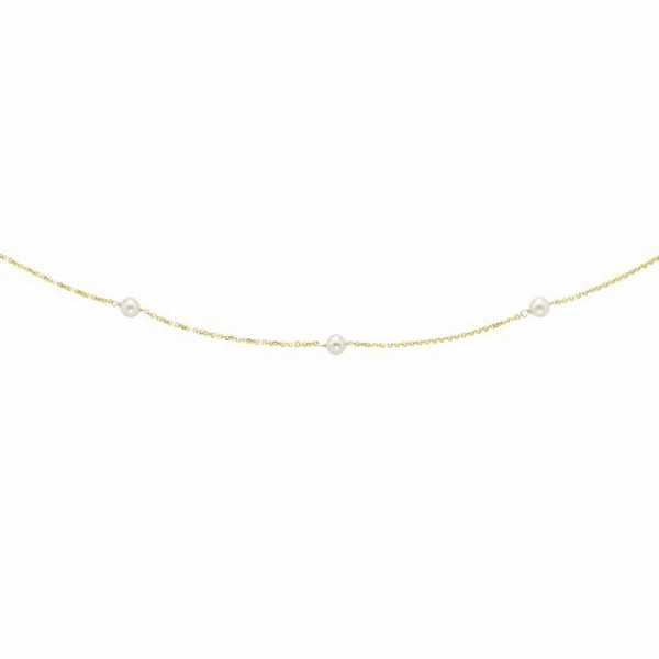 14kt Yellow Gold 4-4.5mm White Pearl Tin Cup Necklace