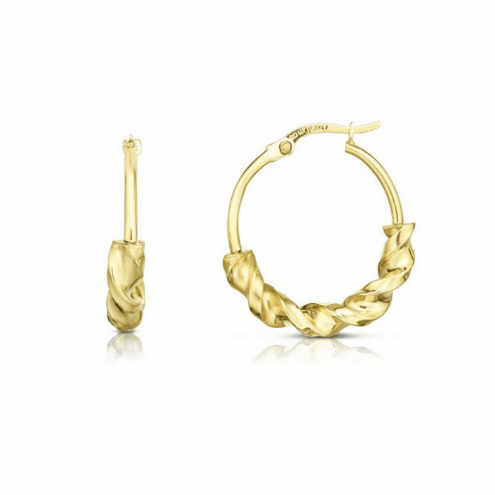14kt Yellow Gold 4.4x18mm Shiny Round Hoop Wheat Earring