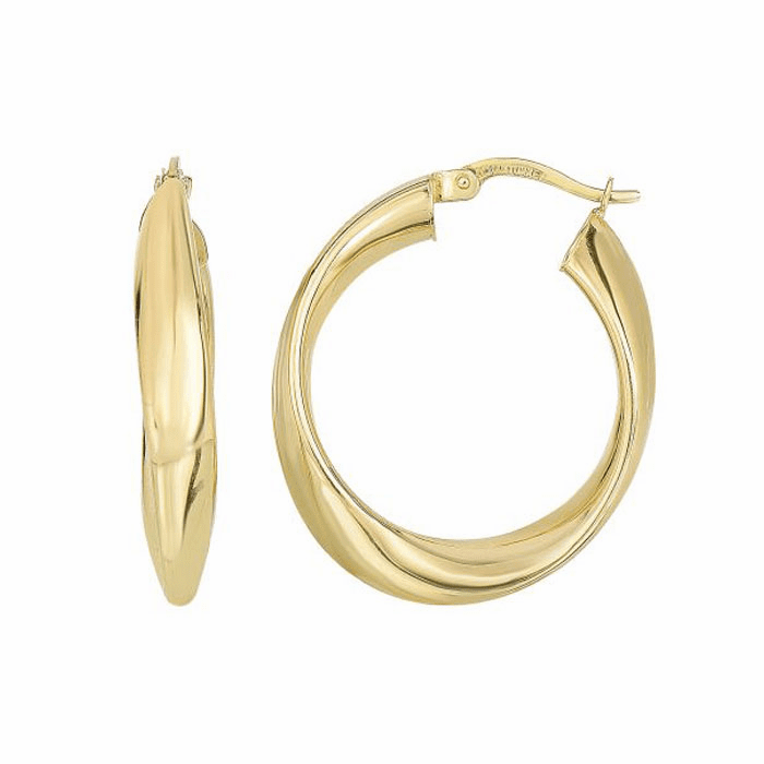 14Kt Yellow Gold 4.7X21.1X30.7mm Shiny Twisted Oval Hoop Earring