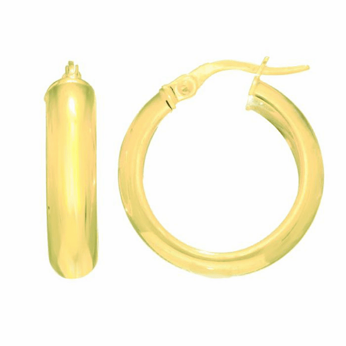 14Kt Yellow Gold 4.85X19.5mm Shiny Small Domed Hoop Earring
