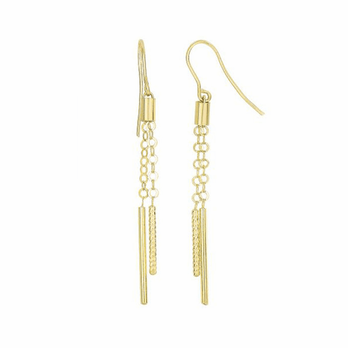 14Kt Yellow Gold 4 Long/2 Short Tube Cylinder Round Link Drop Earring