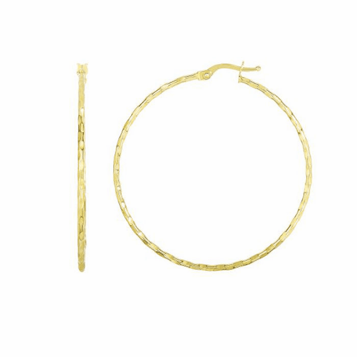 14Kt Yellow Gold 45X1.5mm Shiny / Textured Round Hoop
