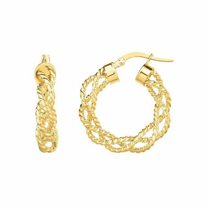 14kt Yellow Gold 4x15mm Shiny / Textured Round Hoop Earring