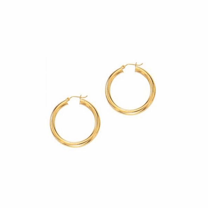 14Kt Yellow Gold 5.0X30mm Round Tube Shiny Hoop Earring