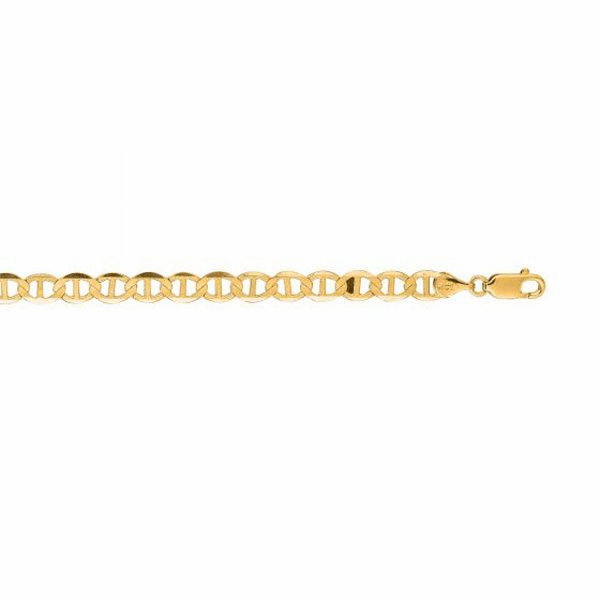 14kt Yellow Gold 5.5mm Diamond Cut Mariner Link Bracelet