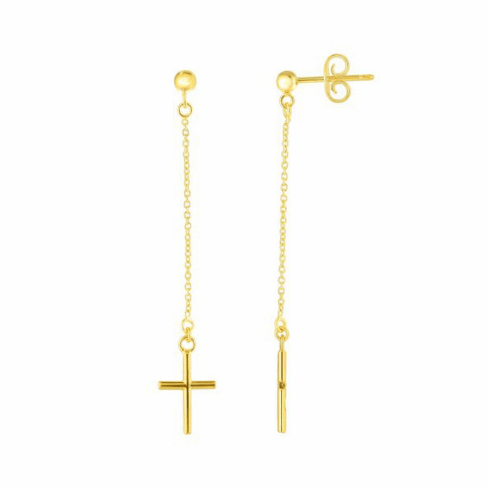 14kt Yellow Gold 50mm Shiny Drop Cross Earring with Push Back Clasp