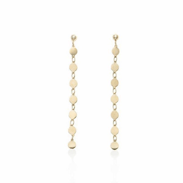14kt Yellow Gold 55x3mm Polished Single Strand Drop Pebble Earring