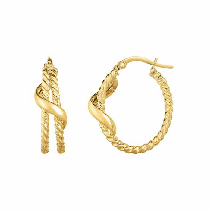 14kt Yellow Gold 5x20mm Shiny / Textured Oval Hoop Earring
