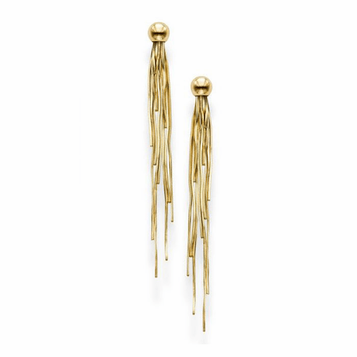 14kt Yellow Gold 5x65mm Shiny Drop Earring with Push Back Clasp