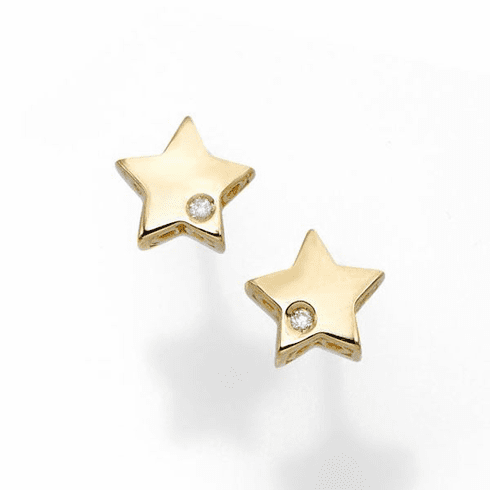 14kt Yellow Gold 6.5mm Polished Post Star 1mm White Diamond Earring
