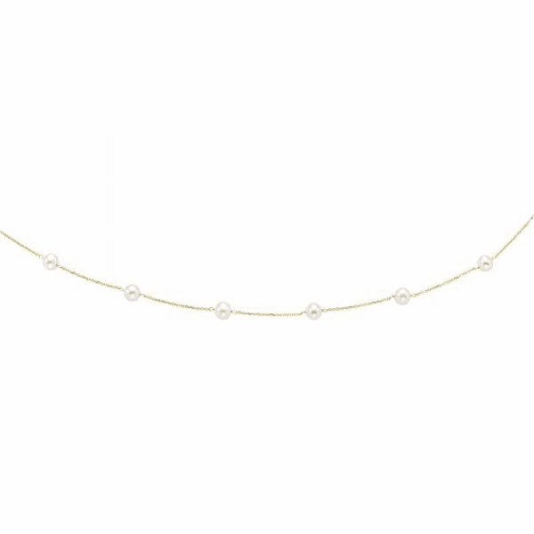 14kt Yellow Gold 6-6.5mm White Pearl Tin Cup Necklace