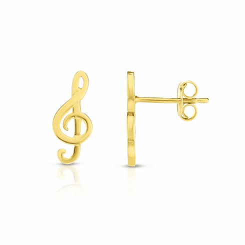 14kt Yellow Gold 6x14mm Shiny Treble Clef Post Earring