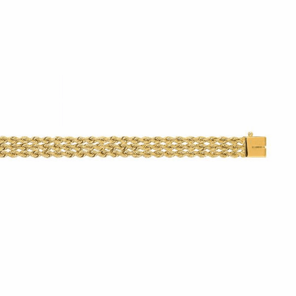 14kt Yellow Gold 7.0mm Diamond Cut Multi Line Rope Bracelet