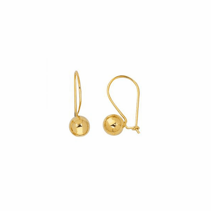 14Kt Yellow Gold 7.0mm Shiny Round Ball Leverback Earring