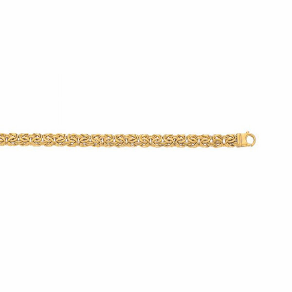 14kt Yellow Gold 7.2mm Shiny Byzantine Fancy Bracelet