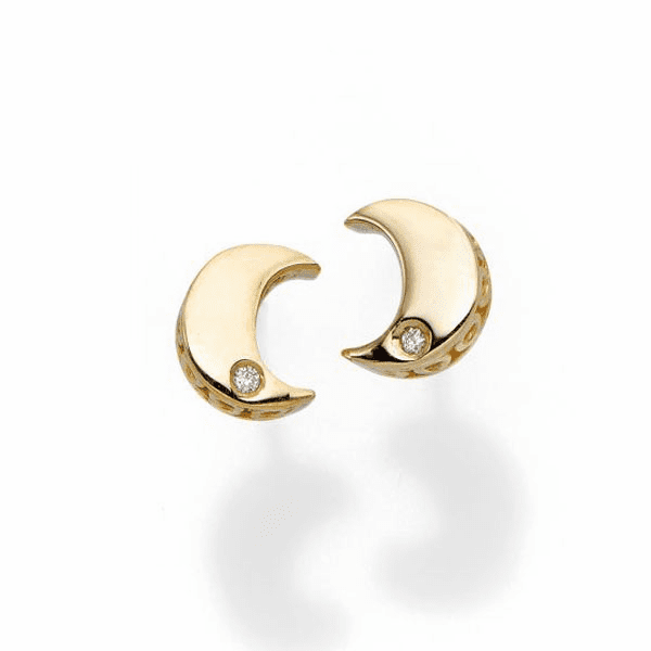 14kt Yellow Gold 7x5.8mm Polished Post Moon 1mm White Diamond Earring