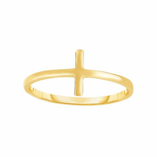 14kt Yellow Gold 8-1.5mm Shiny Square Tube Cross Top Fancy Ring