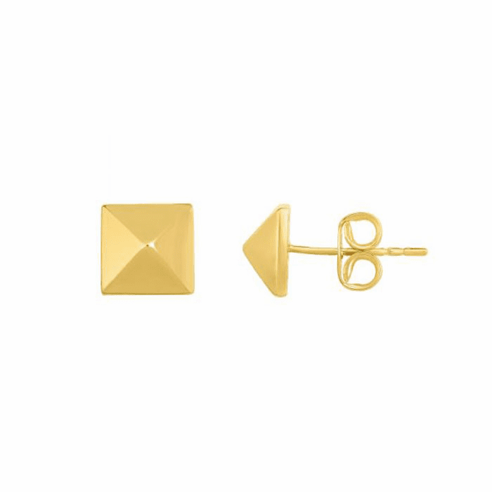 14kt Yellow Gold 8x8mm Pyramidal Post Earring