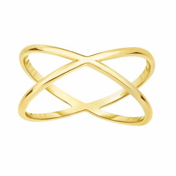 "14kt Yellow Gold 9.3mm Shiny Round Tube Double Row ""X"" Type Fancy Ring"