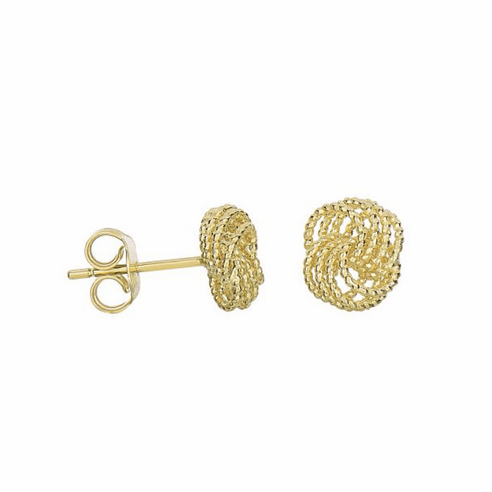 14Kt Yellow Gold 9-8mm Diamond Cut 4 Line Love Knot Type Post Earring