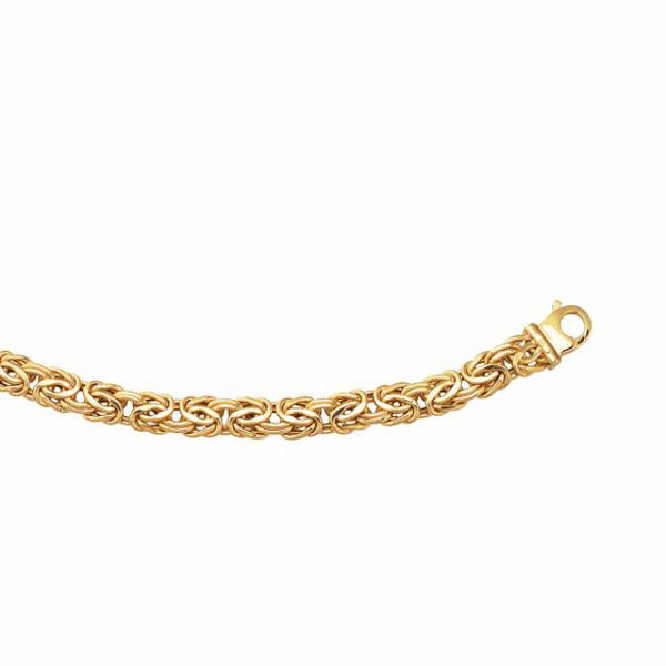 14kt Yellow Gold 9mm Byzantine Fancy Bracelet