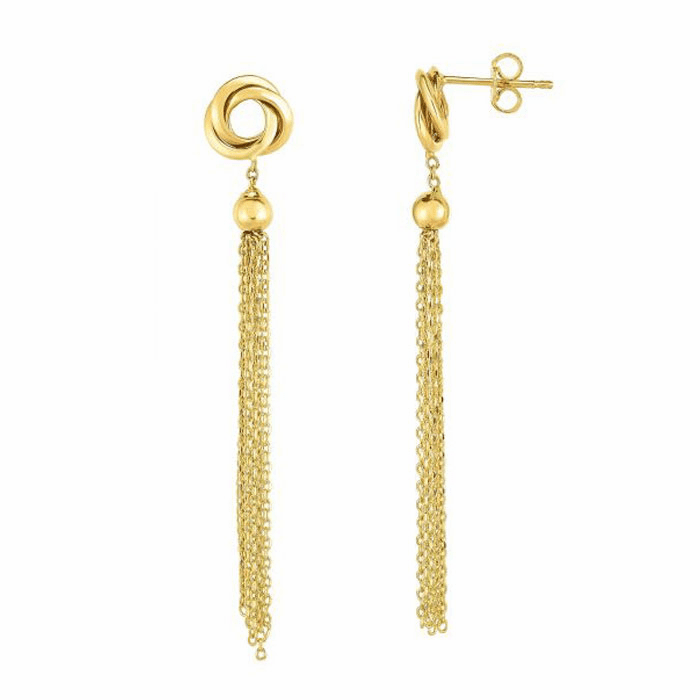14kt Yellow Gold 9x50mm Shiny Fancy Drop Earring with Push Back Clasp