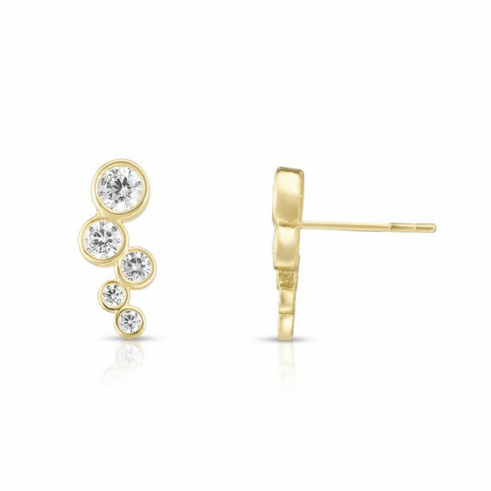 14kt Yellow Gold Climber Zig Zag Bubble Earring with Round Clear CZ