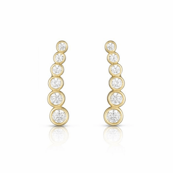 14kt Yellow Gold Curved Climber Sideways Bar Round Clear CZ Earring