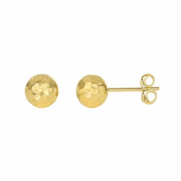 14Kt Yellow Gold Diamond Cut Ball Earring On Post with Butterfly Clasp