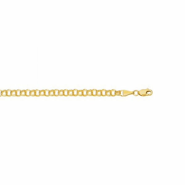 14kt Yellow Gold Diamond Cut Double Link Charm Bracelet - CB122