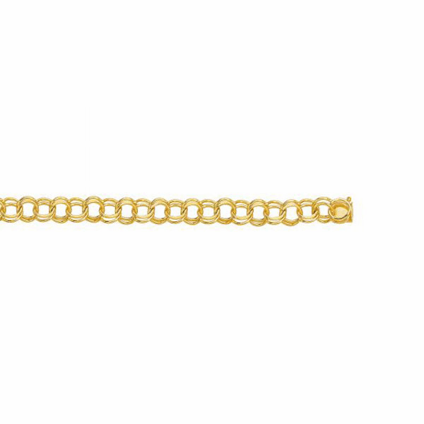 14kt Yellow Gold Diamond Cut Double Link Charm Bracelet - CB130