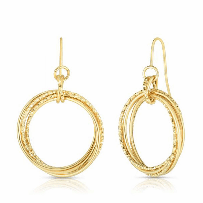14kt Yellow Gold Diamond Cut Earring with Euro Wire Clasp