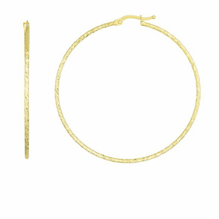 14kt Yellow Gold Diamond Cut Earring with Hinged Clasp