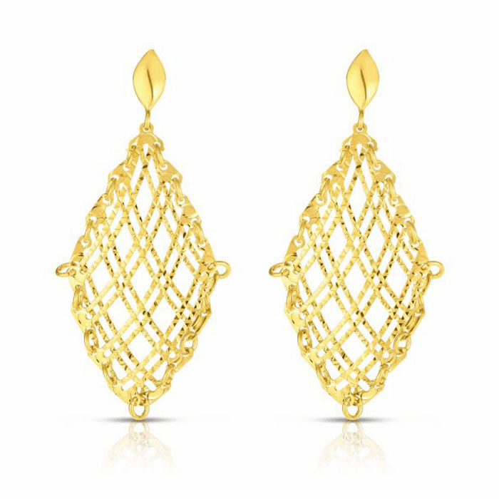 14kt Yellow Gold Diamond Cut Earring with Push Back Clasp