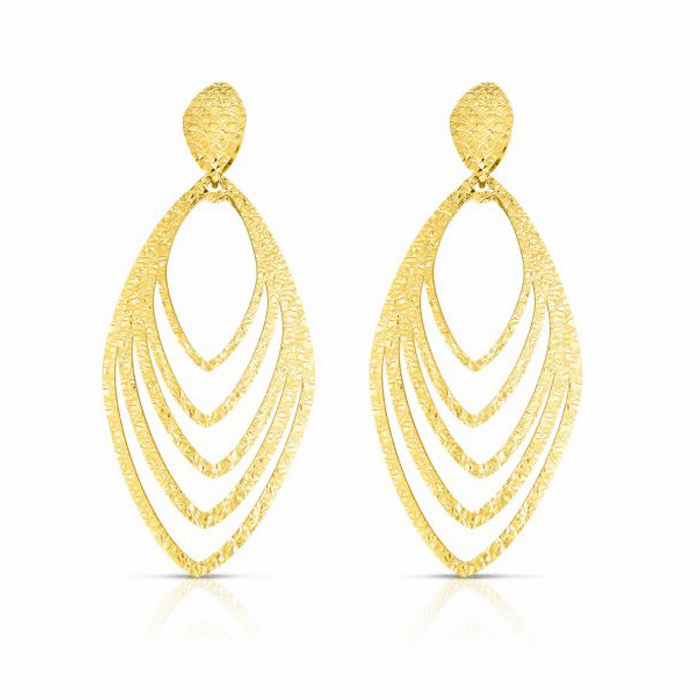14kt Yellow Gold Diamond Cut Earring with Push Back Clasp - ER8075