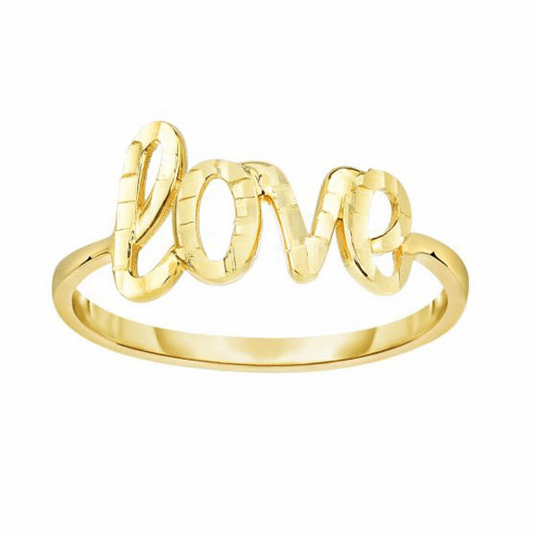 "14kt Yellow Gold Diamond Cut ""Love"" Ring"