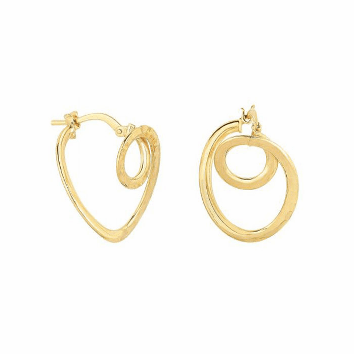 14Kt Yellow Gold Diamond Cut Small Circle In Oval Tube Hoop Earring