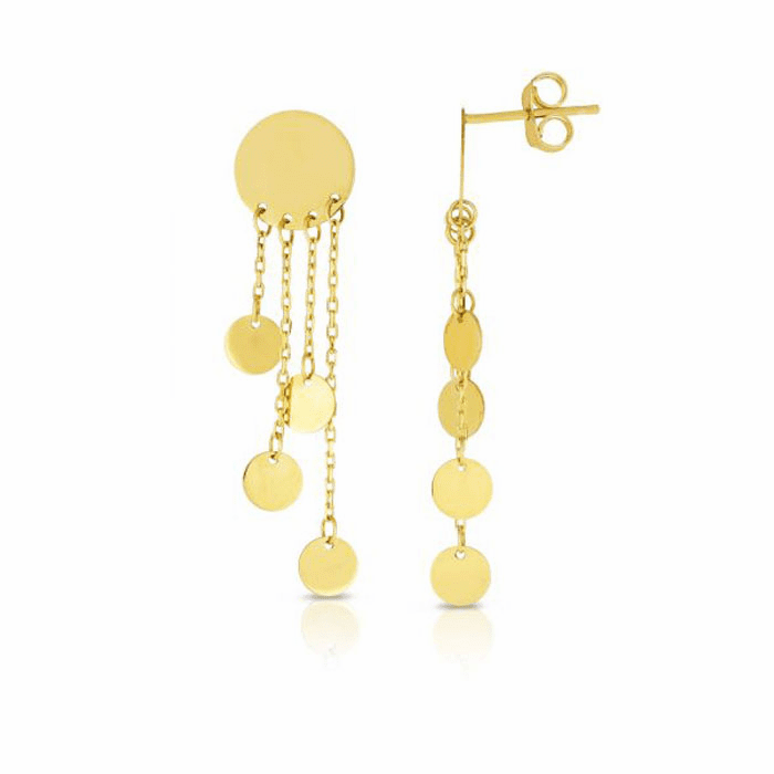 14kt Yellow Gold Disc Earring with Push Back Clasp