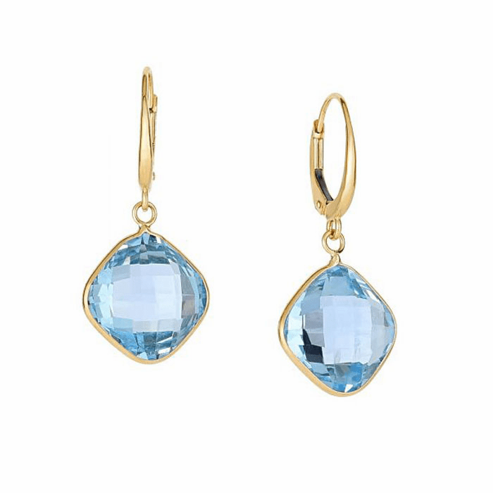 14Kt Yellow Gold Drop Earring with 12mm Cushion Briolette Blue Topaz