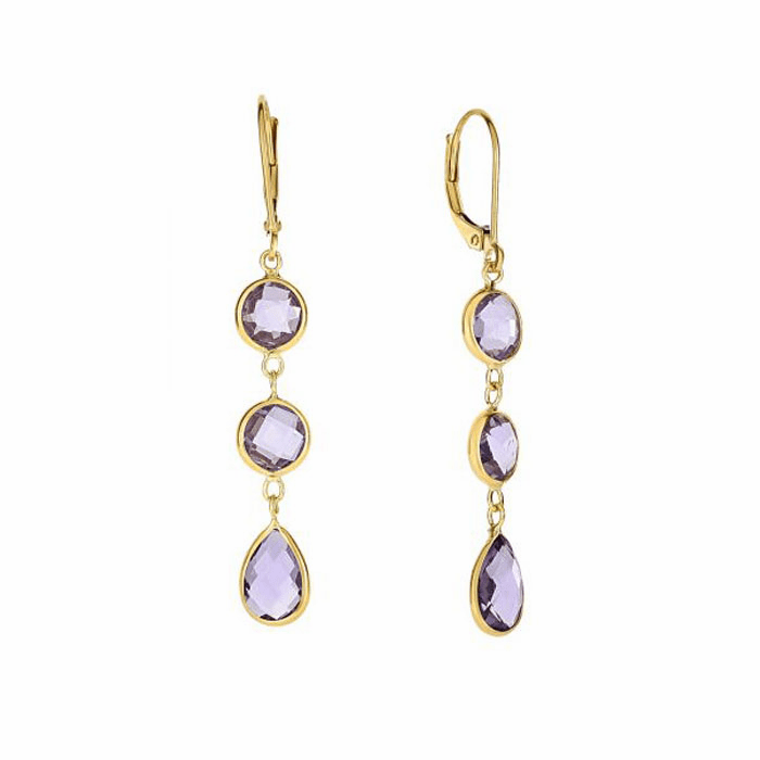 14Kt Yellow Gold Drop Earring with Round/Tear Drop Briolette Amethyst