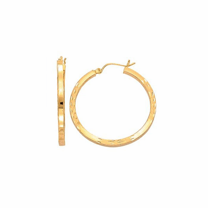 14Kt Yellow Gold Fancy Diamond Cut Square Tube Round Hoop Earring
