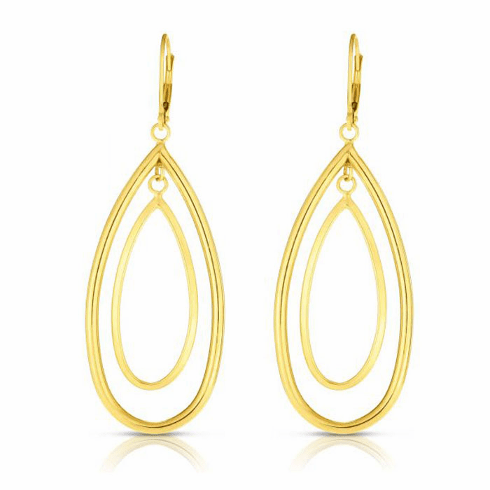 14kt Yellow Gold Fancy Drop Concentric Tear Drop Earring