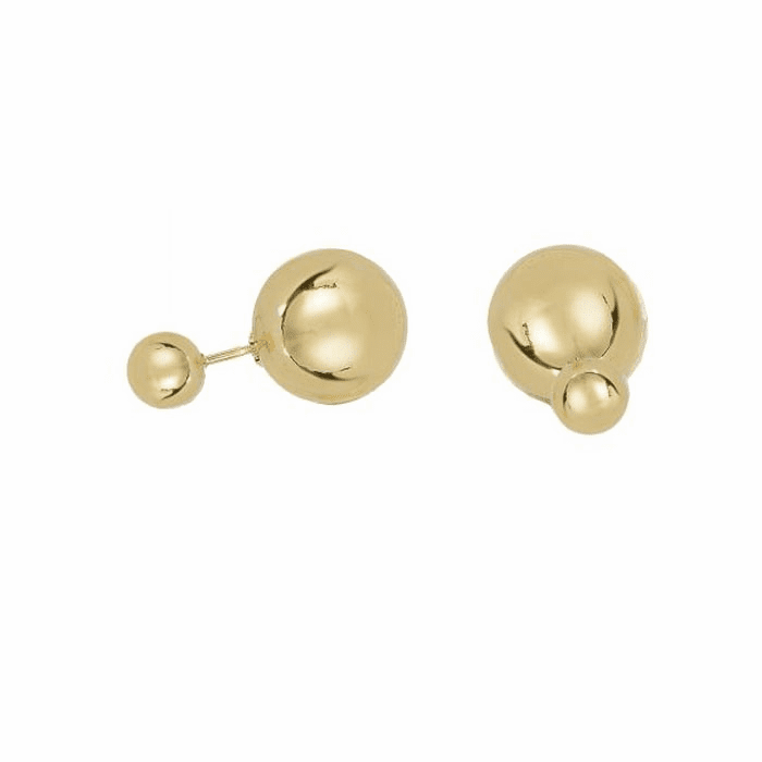 14Kt Yellow Gold Front Ball Stud Earring with Yellow Gold Back Ball