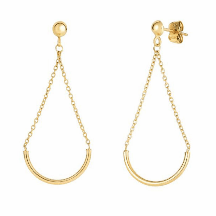 14Kt Yellow Gold Half Circle Hanging On Link Triangle Drop Earring