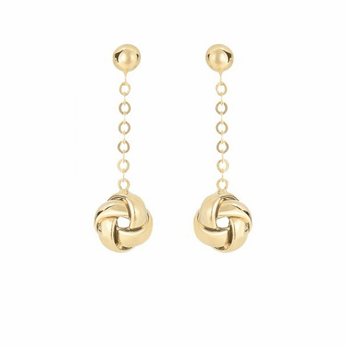 14Kt Yellow Gold Hanging Loveknot O N Piatto Type Link Drop Earring