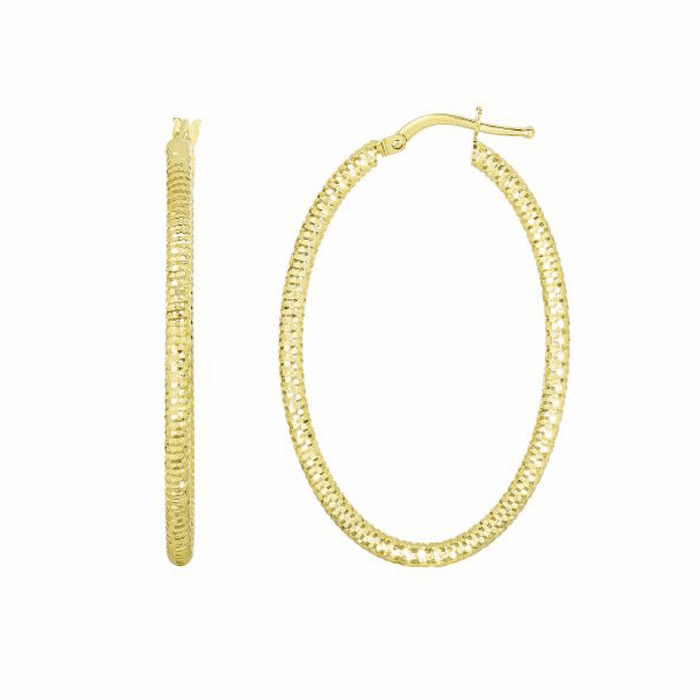 14Kt Yellow Gold Hanging Open Square/Textured Open Oval Drop Earring