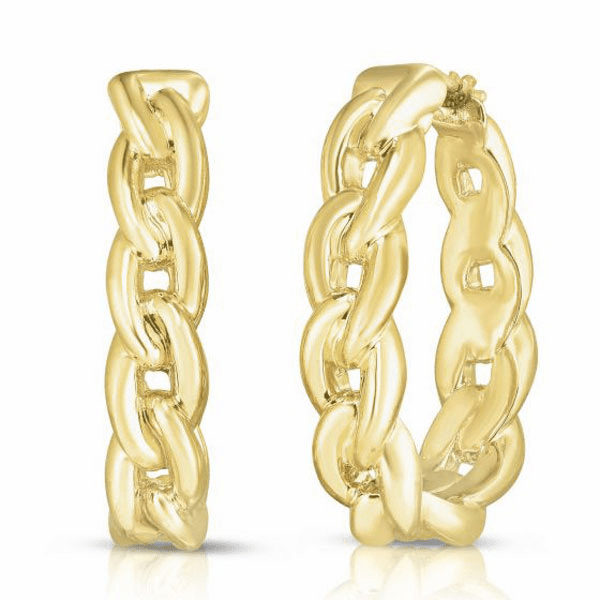 14kt Yellow Gold Image Based Polished Graduated Hoop Curb Link Earring