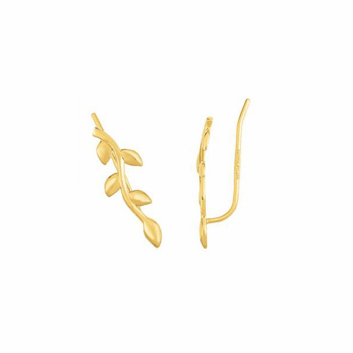 14kt Yellow Gold Leaf Ear Climber Earring with Ear Climber Clasp