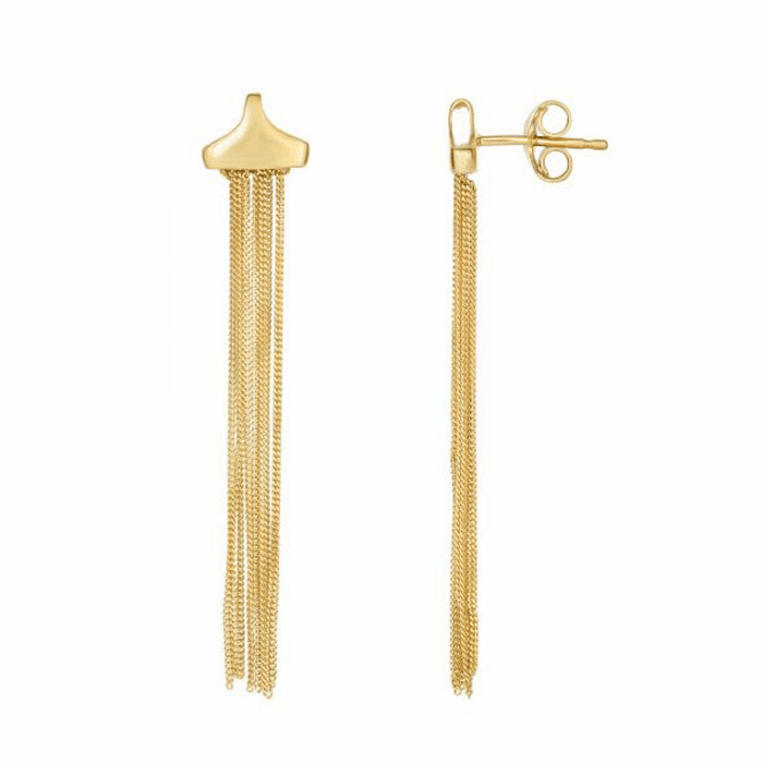 14Kt Yellow Gold Multi- Strand Comfort Curb Type Link Drop Earring